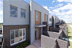 Polo townhouses mid shot east view