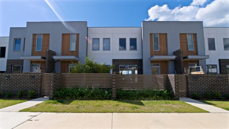 Polo townhouses mid shot front view