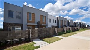 Polo townhouses wide shot east view